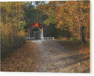 Wood Print featuring the photograph Fall Covered Bridge by Dale Kincaid