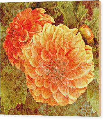 Fall Dahlias Wood Print by Cathie Tyler