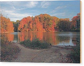 Fall Day At The Creek Wood Print