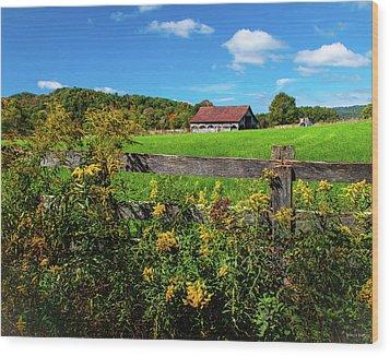 Fall Farm Wood Print