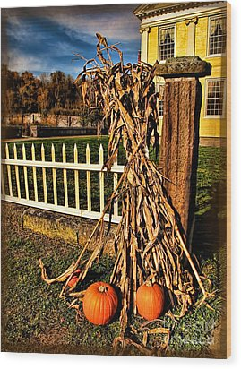 Fall Fence At Hale Farm Wood Print