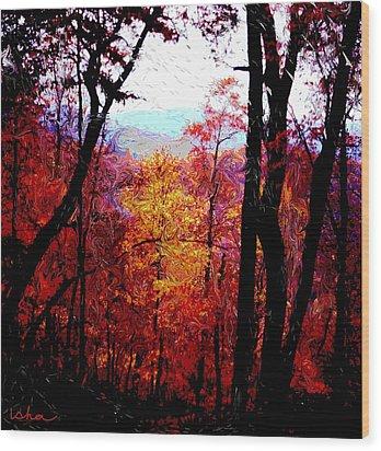 Fall Fire Wood Print