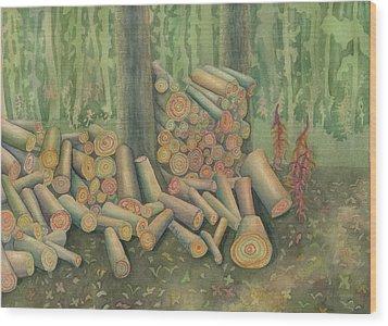 Fall Firewood Wood Print by Anne Havard