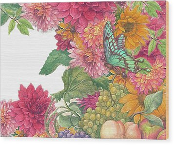 Fall Florals With Illustrated Butterfly Wood Print by Judith Cheng