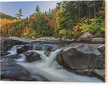 Fall Foliage Along Swift River In White Mountains New Hampshire  Wood Print