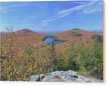 Fall Foliage At Owl's Head Groton State Forest Wood Print by John Burk