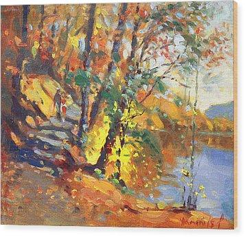Fall In Bear Mountain Wood Print by Ylli Haruni