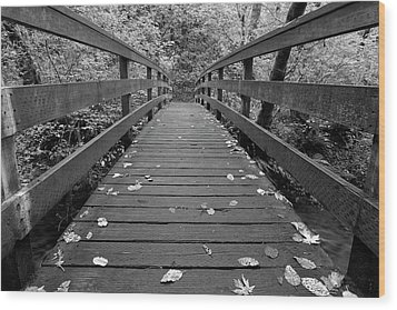 Wood Print featuring the photograph Fall In Oregon Bw by Jonathan Davison