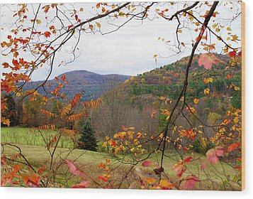 Fall In Vermont Wood Print by Lois Lepisto
