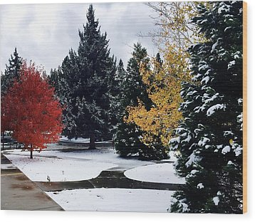 Fall Into Winter Wood Print by Russell Keating