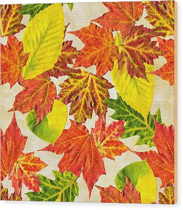 Wood Print featuring the mixed media Fall Leaves Pattern by Christina Rollo