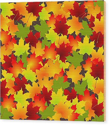 Fall Leaves Quilt Wood Print by Anastasiya Malakhova