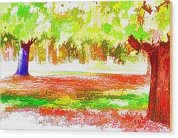 Fall Leaves Trees 2 Wood Print by Lanjee Chee