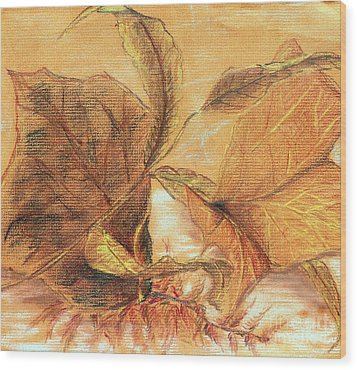 Wood Print featuring the pastel Fall Leaves by Vonda Lawson-Rosa