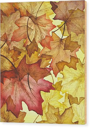 Fall Maple Leaves Wood Print by Christina Meeusen