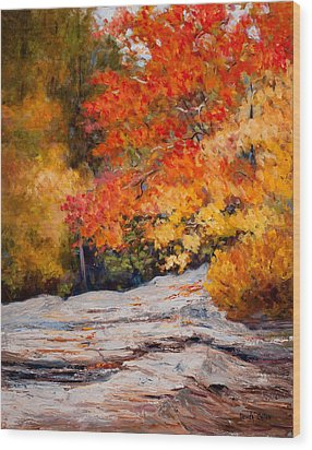 Fall Mountain Foliage Wood Print