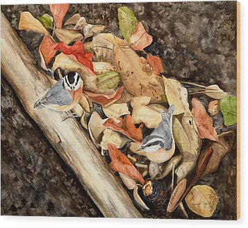 Fall Nuthatch Pair Wood Print