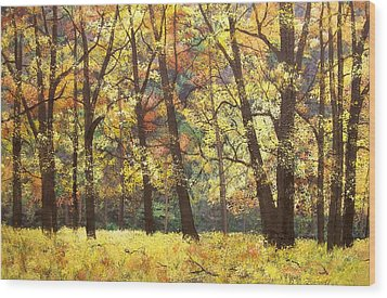 Fall Oaks In El Capitan Meadow Yosemite National Park Wood Print by Connie Tom
