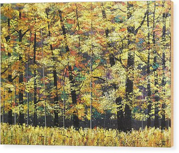 Fall Oaks In Yosemite Wood Print by Connie Tom