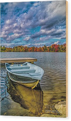 Wood Print featuring the photograph Fall On Alloway Lake by Nick Zelinsky