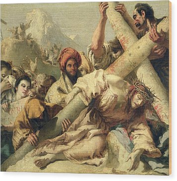Fall On The Way To Calvary Wood Print by G Tiepolo