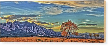 Wood Print featuring the photograph Fall Over The Flatirons by Scott Mahon