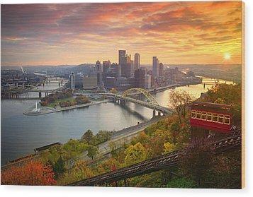 Fall Pittsburgh Skyline  Wood Print by Emmanuel Panagiotakis