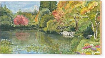Fall Reflections Butchart Gardens Wood Print by Vidyut Singhal