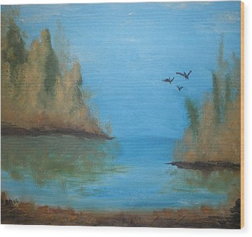 Wood Print featuring the painting Fall Scene by Betty-Anne McDonald
