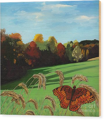 Fall Scene Of Ohio Nature Painting Wood Print by Linda Apple