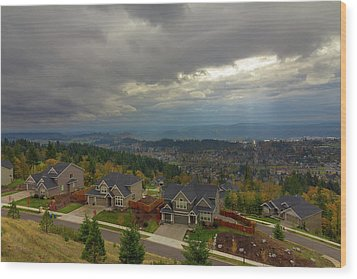 Fall Season In Happy Valley Oregon Wood Print by David Gn