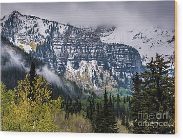 Wood Print featuring the photograph Fall Storm In Wasatch Mountains - Utah by Gary Whitton
