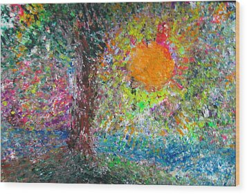 Wood Print featuring the painting Fall Sun by Jacqueline Athmann