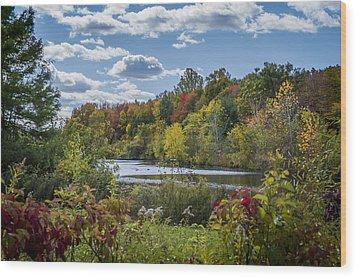 Fall Time On The Lake Wood Print