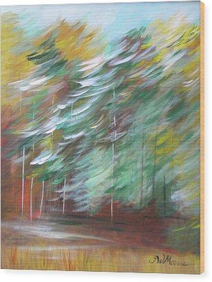 Fall Trees At The Ridge Wood Print