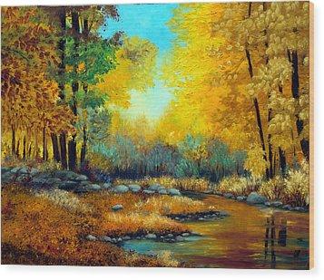 Fall Woods Stream  Wood Print by Laura Tasheiko