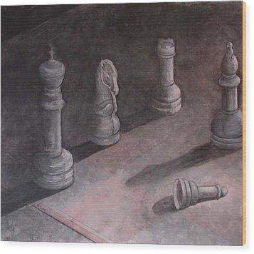 Fallen Chessman Wood Print by Sandy Clift