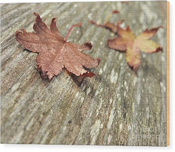 Wood Print featuring the photograph Fallen Leaves by Peggy Hughes