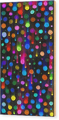 Falling Balls Of Color Wood Print by Carl Deaville