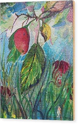 Falling Fruit Wood Print by Mindy Newman
