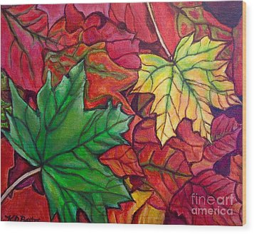 Falling Leaves I Painting Wood Print by Kimberlee Baxter