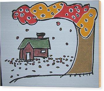 Falling Leaves Wood Print by Pat  Lackenbauer