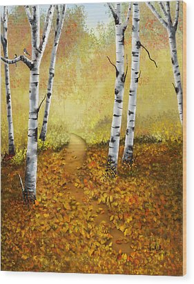 Wood Print featuring the painting Falling Leaves by Sena Wilson