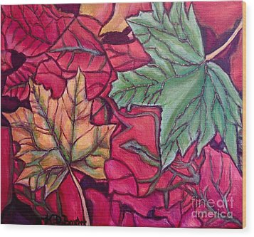 Wood Print featuring the painting Falling Leaves Two Painting by Kimberlee Baxter