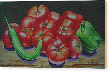 Falling Tomato Wood Print by Ron Sylvia