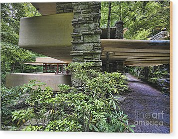 Falling Water Flw Wood Print by Chuck Kuhn