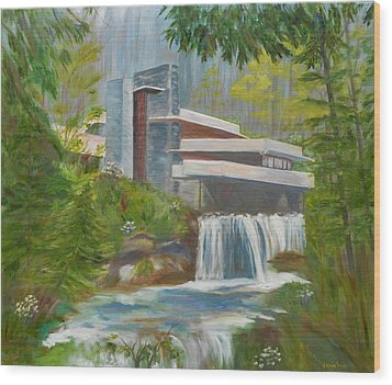 Falling Water Wood Print by Jamie Frier