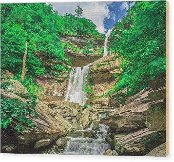 Wood Print featuring the photograph Falling Waters by Paula Porterfield-Izzo