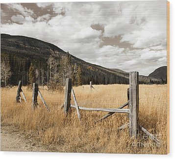 Wood Print featuring the photograph Fallowfield Weathered Fence Rocky Mountain National Park Dramatic Sky by John Stephens