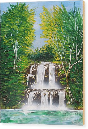 Wood Print featuring the painting Falls 01 by Greg Moores